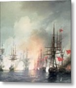 Russian Turkish Sea Battle Of Sinop Metal Print by Ivan Konstantinovich Aivazovsky