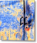 Rusted Blue And Yellow Door Metal Print
