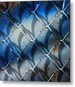 Rusted Fence With Blue Paint Metal Print