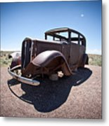 Rusted Old Car On Route 66 Metal Print
