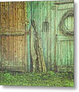 Rustic Barn Doors With Grunge Texture Metal Print by Sandra Cunningham