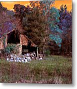 Rustic Barn In Disrepair False Color Infrared Metal Print