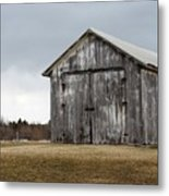 Rustic Barn With Dark Clouds Metal Print