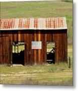 Rustic Barn With Flag Metal Print