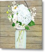 Rustic Country White Hydrangea N Matillija Poppy Mason Jar Bouquet On Wooden Fence Metal Print