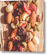 Rustic Dried Fruit And Nut Mix Metal Print