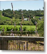 Rustic Fence In Wine Country Metal Print