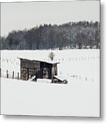 Rustic Shed In The Winter Metal Print