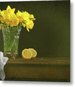 Rustic Still Life With Daffodils Metal Print