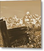 Rustic View Of Grand Teton Metal Print
