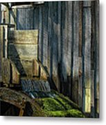 Rustic Water Wheel With Moss Metal Print