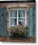 Rustic Window And Red Bricks Wall Metal Print