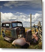 Rusty Auto Wreck Out West Metal Print