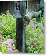 Rusty Bell On Weathered Fence Metal Print