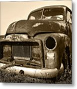 Rusty But Trusty Old Gmc Pickup Truck - Sepia Metal Print by Gordon Dean II