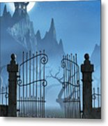 Rusty Gate And A Spooky Dark Castle Metal Print