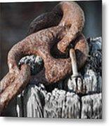 Rusty Iron Chain Railing Fragment Metal Print