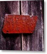 Rusty License Plate Metal Print