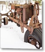 Rusty Old Steel Wheel Tractor In The Snow Tilt Shift Metal Print
