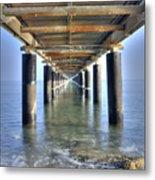 Rusty Pier  On The Ocean  From Below Metal Print