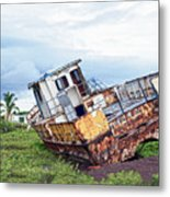 Rusty Retired Fishing Boat Metal Print