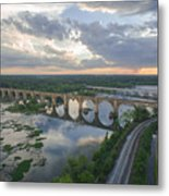 Rva Sunset Train Bridge Style Metal Print