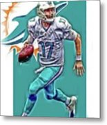 Ryan Tannehill Miami Dolphins Oil Art Metal Print