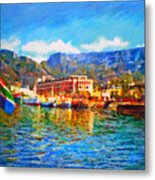 Sa Flag At The Waterfront Metal Print