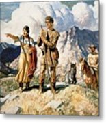 Sacagawea With Lewis And Clark During Their Expedition Of 1804-06 Metal Print by Newell Convers Wyeth