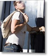 Sacked Man Entering Unemployment Office Metal Print
