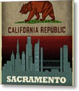 Sacramento City Skyline State Flag Of California Art Poster Series 023 Metal Print