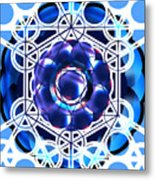 Sacred Geometry Blue Shapes Background Metal Print