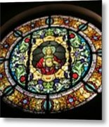Sacred Heart Of Jesus Stained Glass Window Metal Print