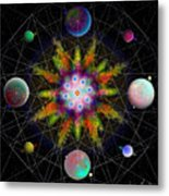 Sacred Planetary Geometry - Dark Red Atom Metal Print
