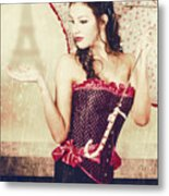 Sad French Pin-up Woman. Loss In The City Of Love Metal Print