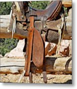Saddle On Ranch Fence Metal Print