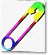 Safety Pin Rainbow Painting Metal Print