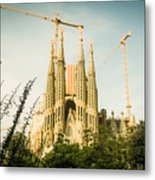 Sagrada Familia With Catalonia's Flag Metal Print