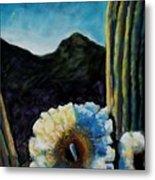 Saguaro In Bloom Metal Print