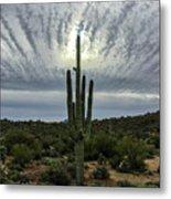 Saguaro Sun Break Clouds Metal Print