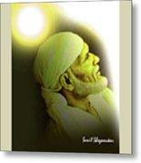 Saibaba Portrait  20 By Sunil Shegaonkar Metal Print