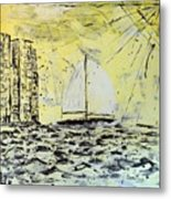 Sail And Sunrays Metal Print by J R Seymour