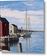 Sail Boat At Rockport Metal Print