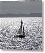 Sail Boat In A Sea Of Diamonds  Metal Print