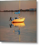Sail Boat In Roanoke Sound 1x2 Ratio Photo Painting Img_3969 Metal Print