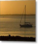 Sail Boat Sunset Metal Print