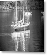 Sail Boat Yaht Parked At Harbor Bay Metal Print