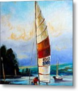 Sail Boats On The Lake Metal Print