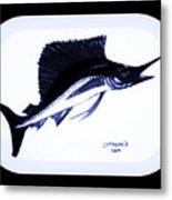 Sail Fish In Black And White Watercolor Metal Print