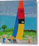 Sail Preparation Metal Print